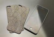 Кожаная накладка на iPhone 4,  4s,  5,  5s,  6 ! (Питон)
