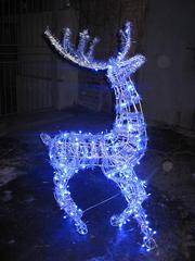 Новогодние авторские олени с LED подсветкой из металла.