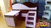 Кровать детская с выдвижным столом,  ящиками и выдвижной лестницей-комо