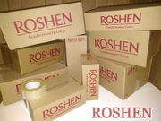 Коробки картонные с логотипом Рошен (Roshen). Разового использования.